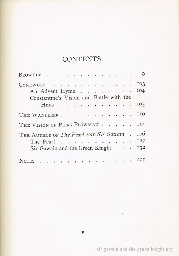 Sir Gawain and the Green Knight - Contents Page - Beowulf, Pearl, Wanderer, Cynewulf, Piers Plowman