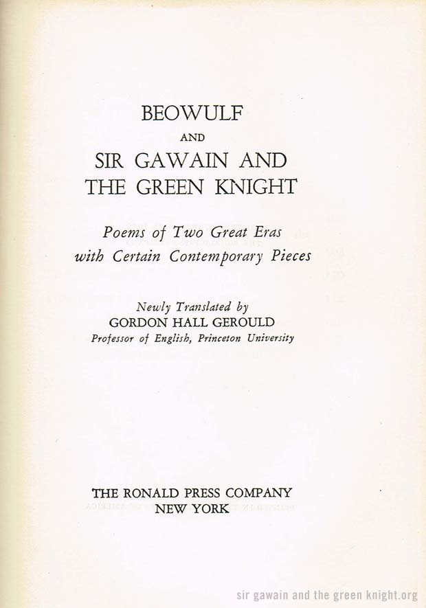 Sir Gawain Title Page - Gerould Edition